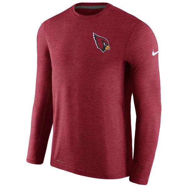 Men's Arizona Cardinals Nike Cardinal Coaches Long Sleeve Performance T-Shirt