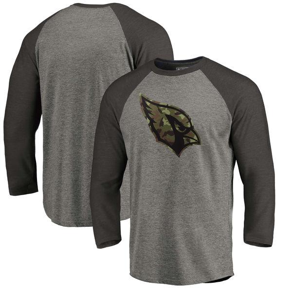 Arizona Cardinals NFL Pro Line by Fanatics Branded Black Gray Tri Blend Sleeve T-Shirt