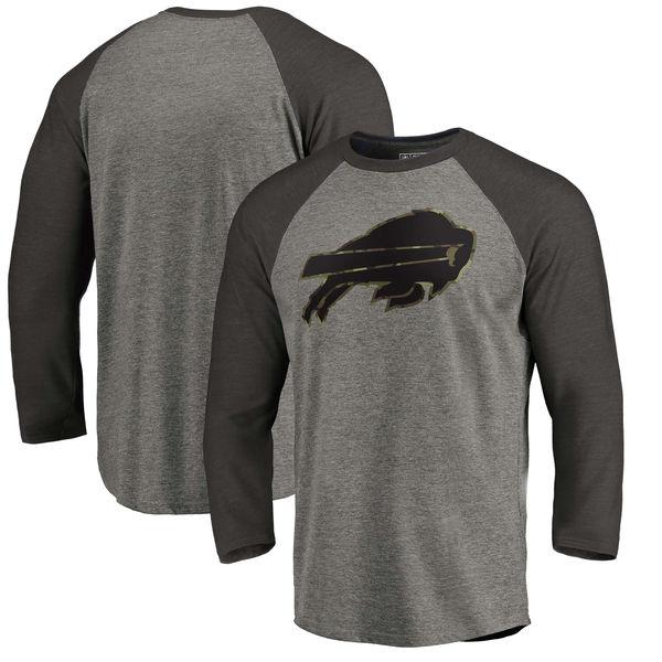 Buffalo Bills NFL Pro Line by Fanatics Branded Black Gray Tri Blend Sleeve T-Shirt