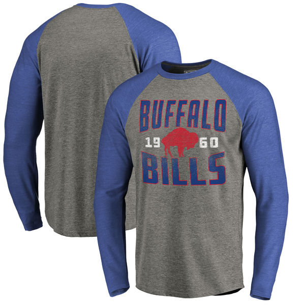 Buffalo Bills NFL Pro Line by Fanatics Branded Timeless Collection Antique Stack Long Sleeve Tri-Blend Raglan T-Shirt Ash