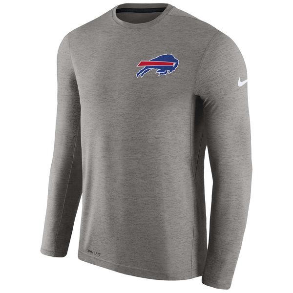 Men's Buffalo Bills Nike Charcoal Coaches Long Sleeve Performance T-Shirt