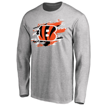 Men's Cincinnati Bengals NFL Pro Line Ash True Colors Long Sleeve T-Shirt