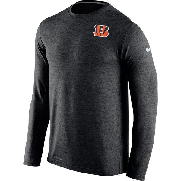 Men's Cincinnati Bengals Nike Black Dri FIT Touch Long Sleeve Performance T-Shirt