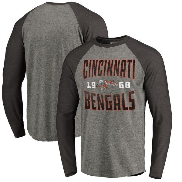 Cincinnati Bengals NFL Pro Line by Fanatics Branded Timeless Collection Antique Stack Long Sleeve Tri-Blend Raglan T-Shirt Ash