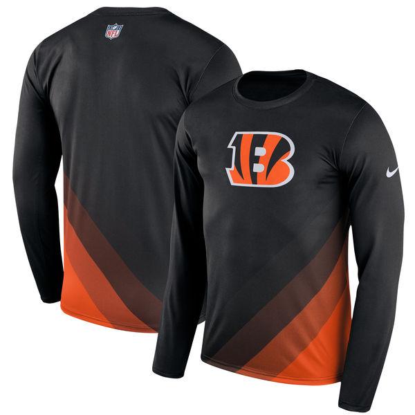 Men's Cincinnati Bengals Nike Black Sideline Legend Prism Performance Long Sleeve T-Shirt
