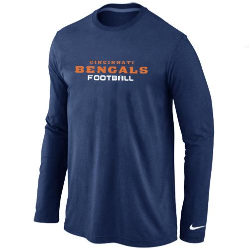 Nike Cincinnati Bengals Authentic font Long Sleeve T-Shirt D.Blue