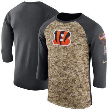 Men's Cincinnati Bengals Nike Camo Anthracite Salute to Service Sideline Legend Performance Three-Quarter Sleeve T Shirt