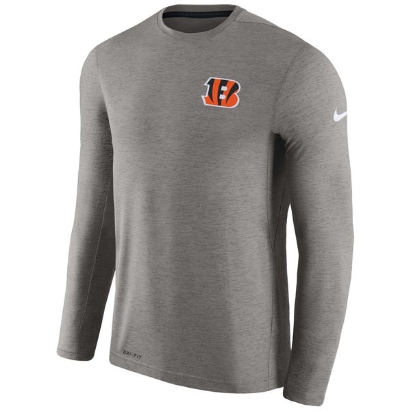 Men's Cincinnati Bengals Nike Charcoal Coaches Long Sleeve Performance T-Shirt