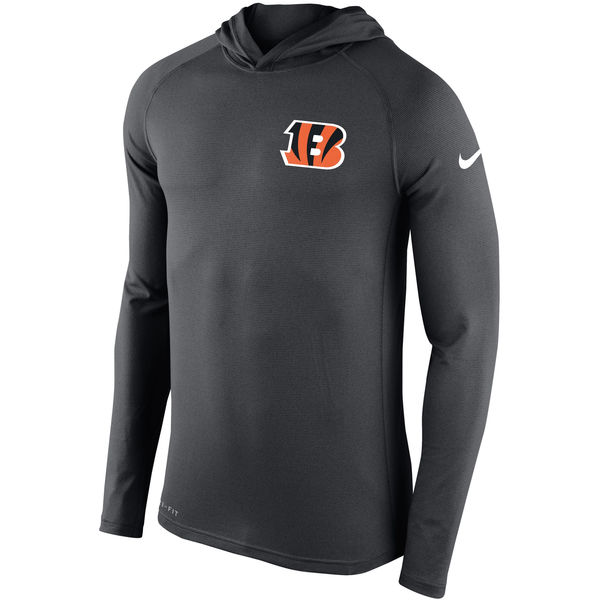 Men's Cincinnati Bengals Nike Charcoal Stadium Touch Hooded Performance Long Sleeve T-Shirt