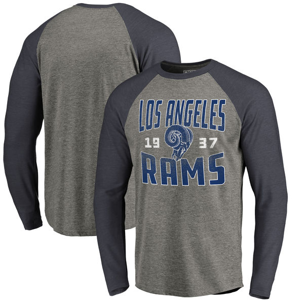 Los Angeles Rams NFL Pro Line by Fanatics Branded Timeless Collection Antique Stack Long Sleeve Tri-Blend Raglan T-Shirt Ash