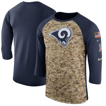 Men's Los Angeles Rams Nike Camo Navy Salute to Service Sideline Legend Performance Three-Quarter Sleeve T Shirt
