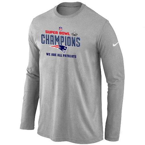 Nike New England Patriots Majestic L.Grey Super Bowl XLIX Long Sleeve T-Shirts