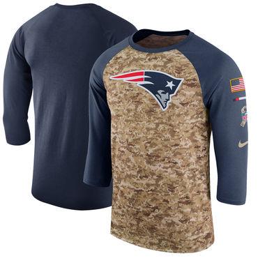 Men's New England Patriots Nike Camo Navy Salute to Service Sideline Legend Performance Three-Quarter Sleeve T Shirt