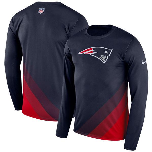 Men's New England Patriots Nike Navy Sideline Legend Prism Performance Long Sleeve T-Shirt