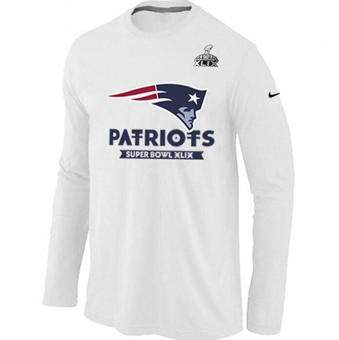 Nike New England Patriots 2015 Super Bowl XLIX Long Sleeve White T-Shirts