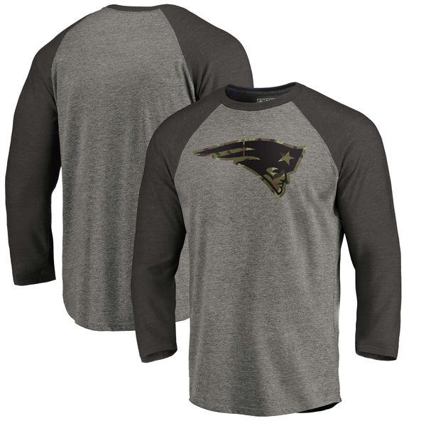 New England Patriots NFL Pro Line by Fanatics Branded Black Gray Tri Blend 34-Sleeve T-Shirt