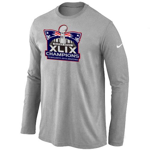 Nike New England Patriots Majestic L.Grey Super Bowl XLIX Champion Mark Long Sleeve T-Shirts