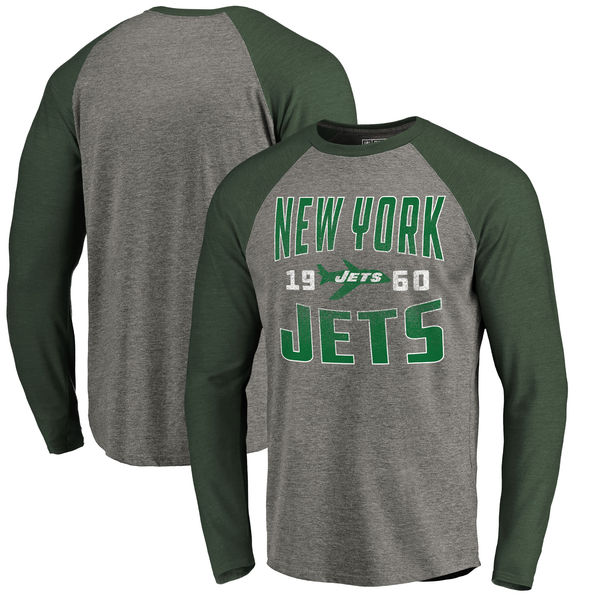 New York Jets NFL Pro Line by Fanatics Branded Timeless Collection Antique Stack Long Sleeve Tri-Blend Raglan T-Shirt Ash