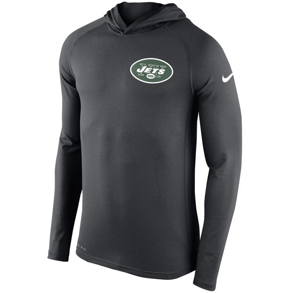 Men's New York Jets Nike Charcoal Stadium Touch Hooded Performance Long Sleeve T-Shirt