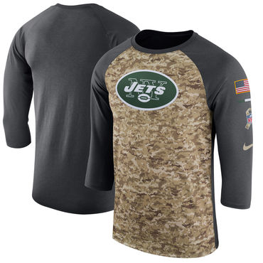 Men's New York Jets Nike Camo Anthracite Salute to Service Sideline Legend Performance Three-Quarter Sleeve T Shirt