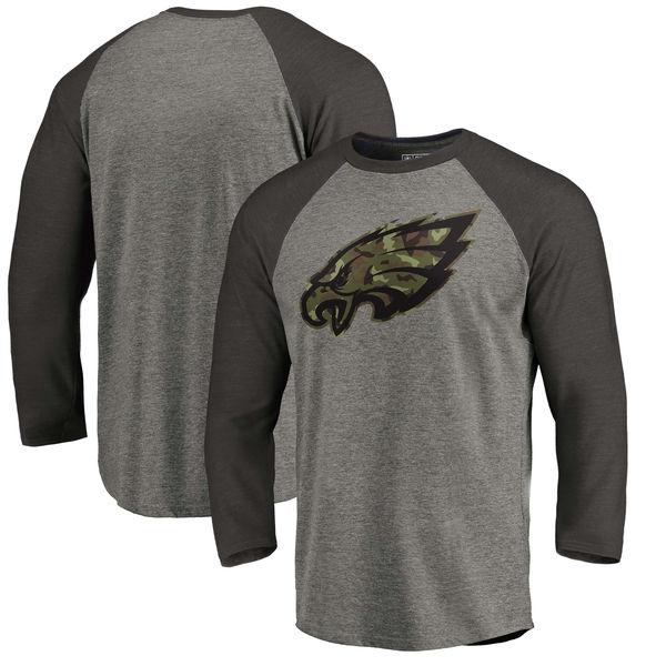 Philadelphia Eagles NFL Pro Line by Fanatics Branded Black Gray Tri Blend 34-Sleeve T-Shirt