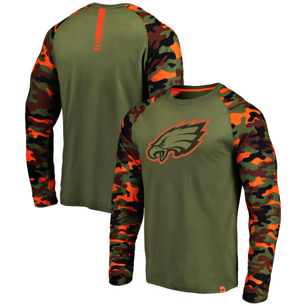 Philadelphia Eagles Heathered Gray Camo NFL Pro Line by Fanatics Branded Long Sleeve T-Shirt