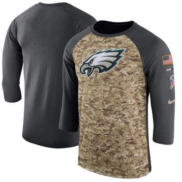 Men's Philadelphia Eagles Nike Camo Anthracite Salute to Service Sideline Legend Performance Three-Quarter Sleeve T Shirt