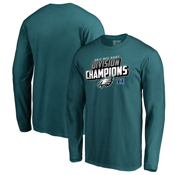 Philadelphia Eagles NFL Pro Line by Fanatics Branded 2017 NFC East Division Champions Long Sleeve T Shirt Midnight Green