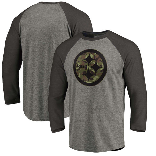 Pittsburgh Steelers NFL Pro Line by Fanatics Branded Black Gray Tri Blend 34-Sleeve T-Shirt