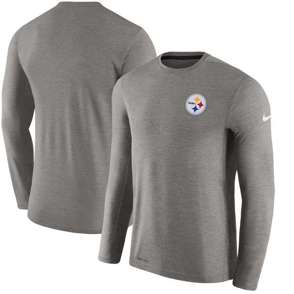Men's Pittsburgh Steelers Nike Charcoal Coaches Long Sleeve Performance T-Shirt