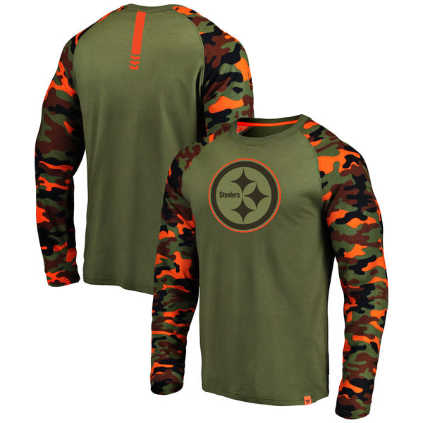 Pittsburgh Steelers Heathered Gray Camo NFL Pro Line by Fanatics Branded Long Sleeve T-Shirt