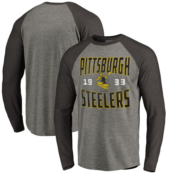 Pittsburgh Steelers NFL Pro Line by Fanatics Branded Timeless Collection Antique Stack Long Sleeve Tri-Blend Raglan T-Shirt Ash