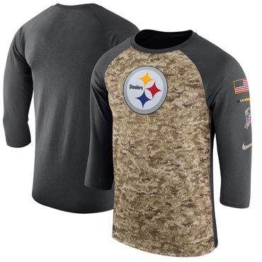 Men's Pittsburgh Steelers Nike Camo Anthracite Salute to Service Sideline Legend Performance Three-Quarter Sleeve T Shirt