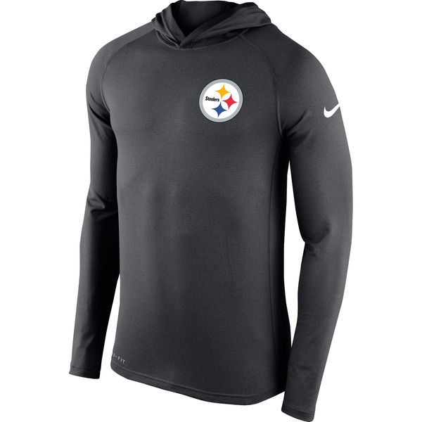 Men's Pittsburgh Steelers Nike Charcoal Stadium Touch Hooded Performance Long Sleeve T-Shirt