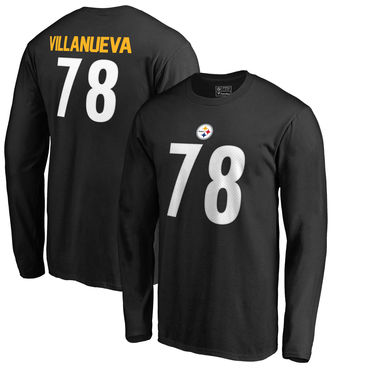 Men's Pittsburgh Steelers 78 Alejandro Villanueva NFL Pro Line by Fanatics Branded Black Authentic Stack Name Number Long Sleeve T Shirt