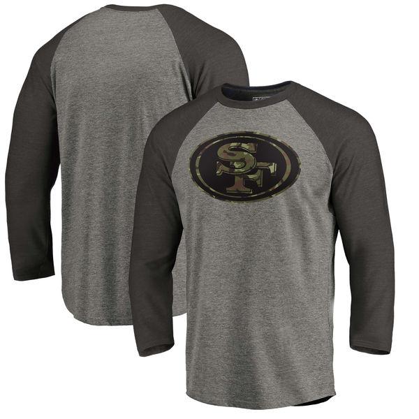 San Francisco 49ers NFL Pro Line by Fanatics Branded Black Gray Tri Blend 34-Sleeve T-Shirt