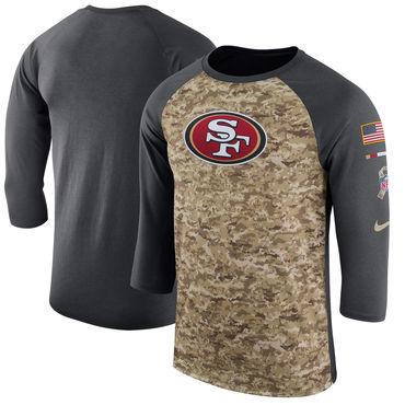 Men's San Francisco 49ers Nike Camo Anthracite Salute to Service Sideline Legend Performance Three-Quarter Sleeve T Shirt