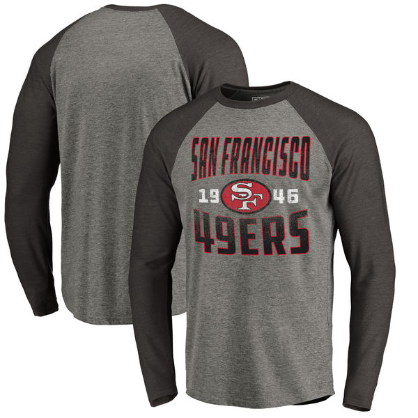 San Francisco 49ers NFL Pro Line by Fanatics Branded Timeless Collection Antique Stack Long Sleeve Tri-Blend Raglan T-Shirt Ash
