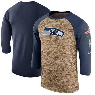 Men's Seattle Seahawks Nike Camo College Navy Salute to Service Sideline Legend Performance Three-Quarter Sleeve T Shirt