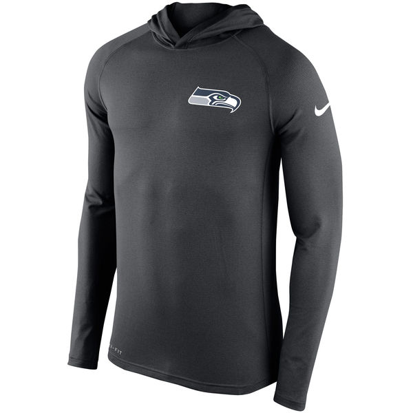 Men's Seattle Seahawks Nike Charcoal Stadium Touch Hooded Performance Long Sleeve T-Shirt