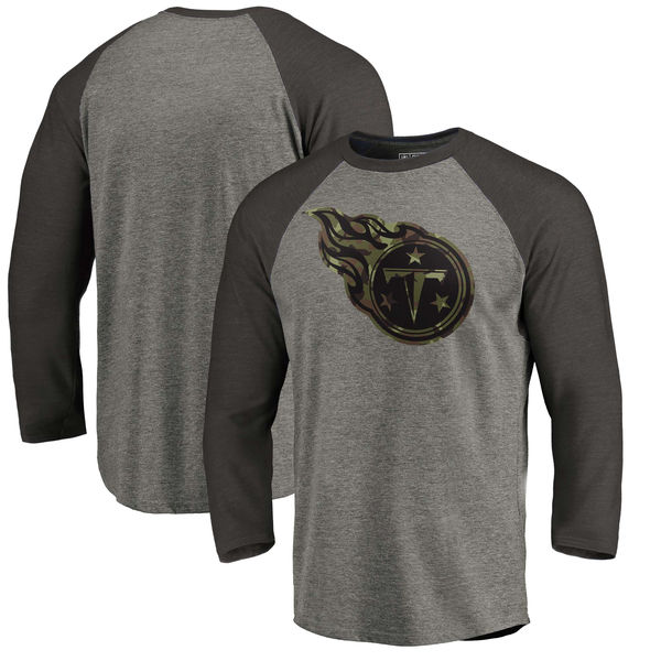 Tennessee Titans NFL Pro Line by Fanatics Branded Black Gray Tri Blend 34-Sleeve T-Shirt