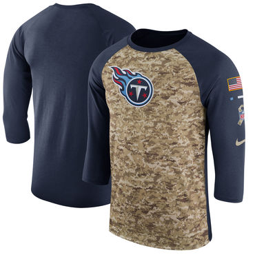Men's Tennessee Titans Nike Camo Navy Salute to Service Sideline Legend Performance Three-Quarter Sleeve T Shirt