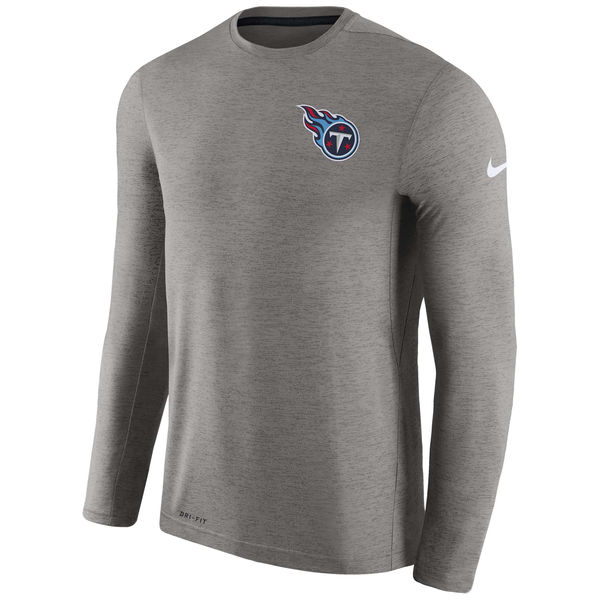 Men's Tennessee Titans Nike Charcoal Coaches Long Sleeve Performance T-Shirt