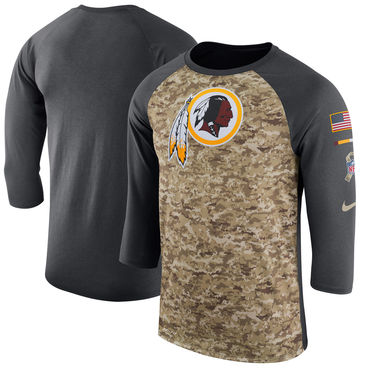 Men's Washington Redskins Nike Camo Anthracite Salute to Service Sideline Legend Performance Three-Quarter Sleeve T Shirt