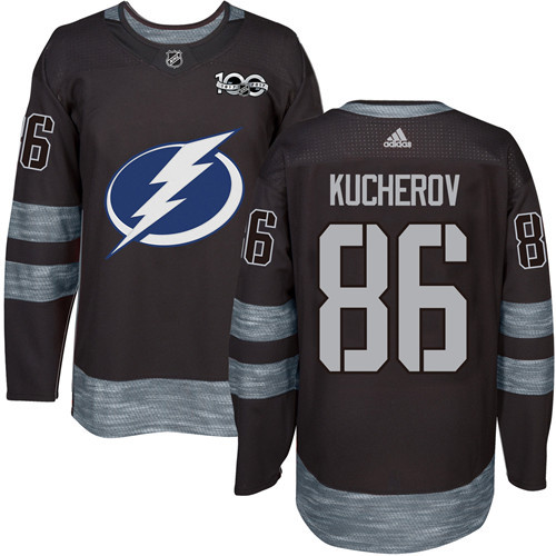 Adidas Lightning #86 Nikita Kucherov Black 1917-2017 100th Anniversary Stitched NHL Jersey