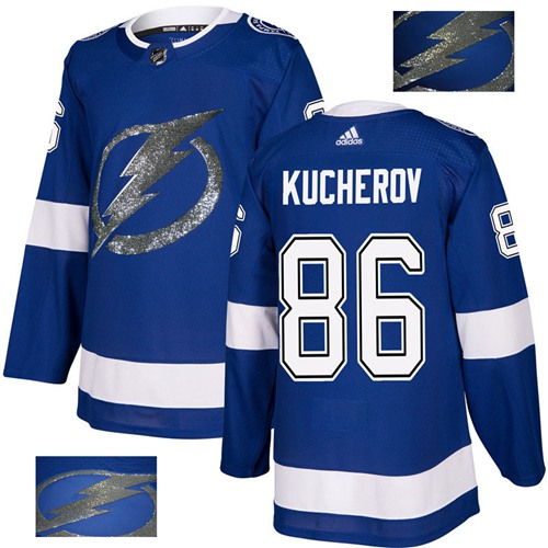 Adidas Lightning #86 Nikita Kucherov Blue Home Authentic Fashion Gold Stitched NHL Jersey