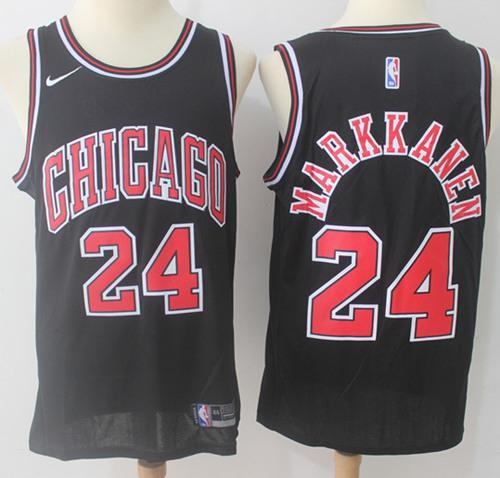 Nike Chicago Bulls #24 Lauri Markkanen Black NBA Swingman Jersey