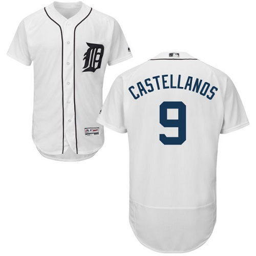 Men's Detroit Tigers #9 Nick Castellanos White Flexbase Authentic Collection Stitched MLB Jersey
