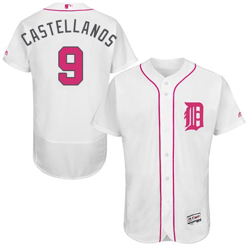 Men's Detroit Tigers #9 Nick Castellanos White Flexbase Authentic Collection 2016 Mother's Day Stitched MLB Jersey