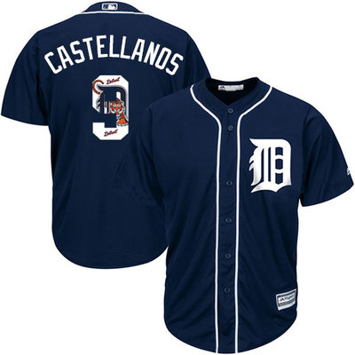 Men's Detroit Tigers #9 Nick Castellanos Navy Blue Team Logo Fashion Stitched MLB Jersey